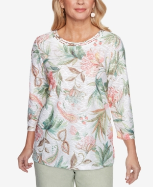 Alfred Dunner PETITE SPRINGTIME IN PARIS FLORAL TEXTURE TOP