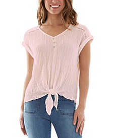 Juniors' Textured Tie-Front Top