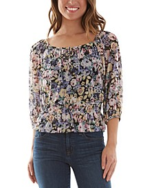 Juniors' Floral-Print Top