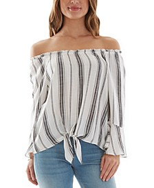 Juniors' Printed Off-The-Shoulder Tie-Front Top