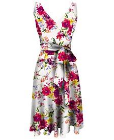 Petite Floral-Print A-Line Dress