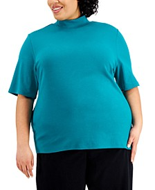 Plus Size Cotton Mock Neck Top, Created for Macy's