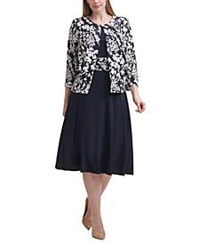 Plus Size Floral-Print Jacket Dress
