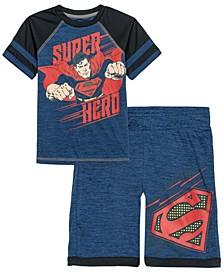 Little Boys Superman Hero Active T-shirt and Shorts Set, 2 Piece