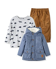 Baby Boys Chambray Jacket with Pant Set