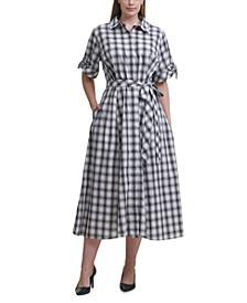 Plus Size Checkered Shirtdress