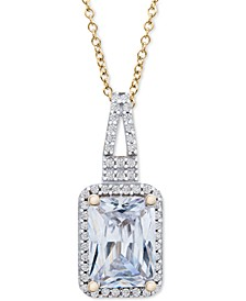 """White Sapphire Halo 18"""" Pendant Necklace (2-1/10 ct. t.w.) in Sterling Silver & Yellow Gold-Plated Sterling Silver"""