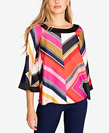 Oceans Edge Printed Flared-Sleeve Top