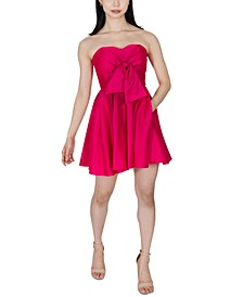 Juniors' Strapless Satin Fit & Flare Dress