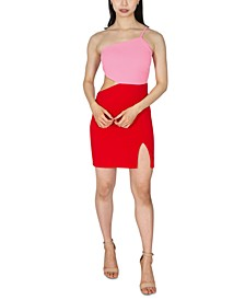 Juniors' One-Shoulder Colorblocked Sheath Dress
