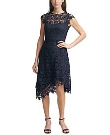 Lace Asymmetrical-Hem Midi Dress