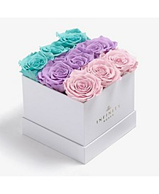 Square Box of 9 Blue Ombre Real Roses Preserved To Last Over A Year