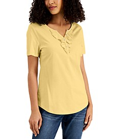 Petite Ruffled Henley Top, Created for Macy's