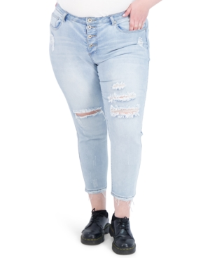 Trendy Plus Size Four-Button Destructed High-Rise Skinny Jeans