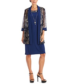 2-Pc. Printed Jacket & Necklace Dress