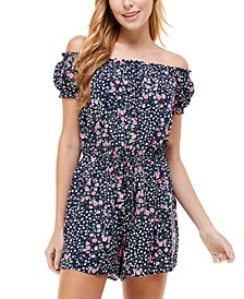 Printed On and Off-The-Shoulder Romper