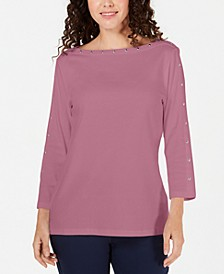 Studded Boat-Neck Top, Created for Macy's
