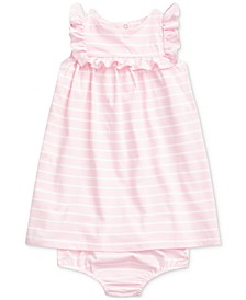 Ralph Lauren Baby Girls Striped Cotton Dress Bloomer
