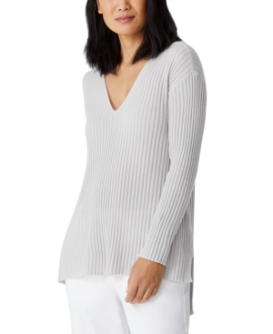 Eileen Fisher CASHMERE HIGH-LOW V-NECK TUNIC