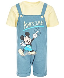 Baby Boys 2-Pc. Awesome Mickey French Terry Shortall & T-Shirt Set