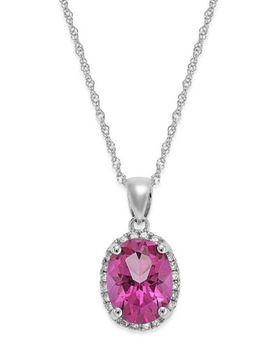 14k White Gold Pink Topaz (2 ct. t.w.) and Diamond Accent Pendant Necklace