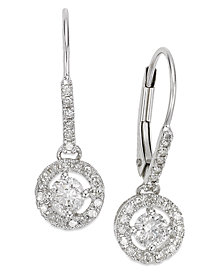 Diamond Round Drop Earrings in 14k White Gold or Gold (1/2 ct. t.w.)