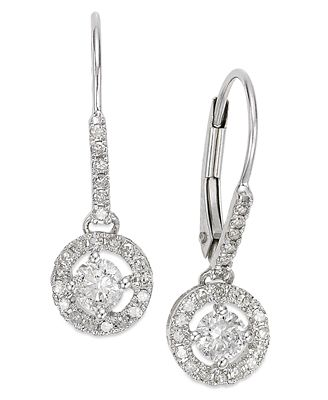 Diamond Round Drop Earrings in 14k White Gold or Gold 1 2 ct