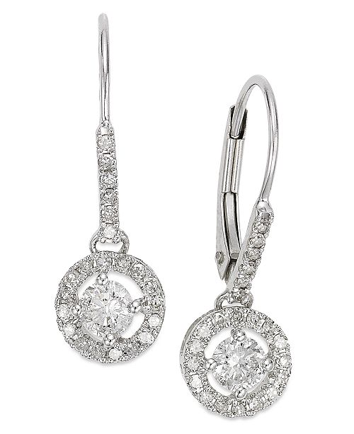 Diamond Round Drop Earrings In 14k White Gold Yellow Or Rose 1 2 Ct T W