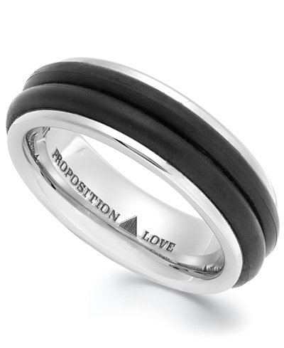 Proposition Love Cobalt and Rubber Accent Wedding Band - Rings ...