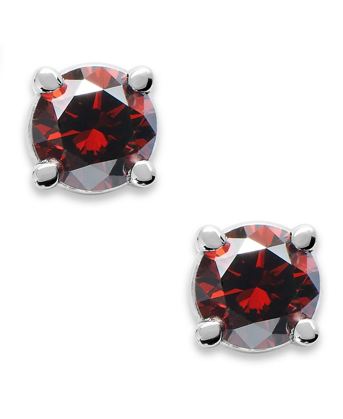 Macy's - 10k White Gold Red Diamond Round Stud Earrings (1/5 ct. t.w.)