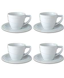 Essentials 12 Oz Porcelain Breakfast Cup Saucer, Set of 4