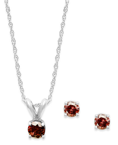 10k White Gold Red Diamond Necklace and Earring Set (1/4 ct. t.w.)