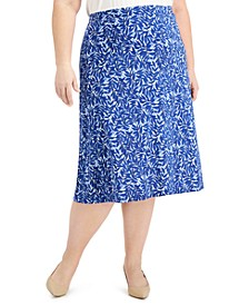 Plus Size Printed Midi Skirt