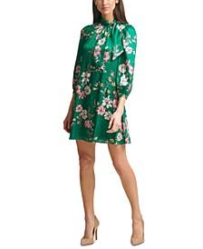 Petite Floral Jacquard Tie-Neck Swing Dress