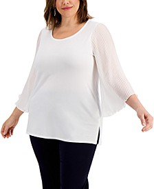 Plus Size Pleated-Sleeve Top, Created for Macy's