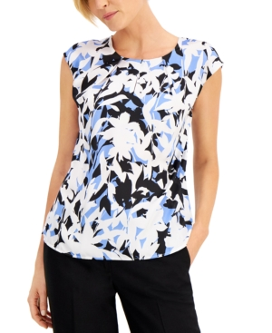 Printed Pleated-Neck Top