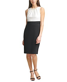 Faux-Pearl Trim Scuba Sheath Dress