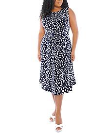 Plus Size Dot-Print Belted Dress