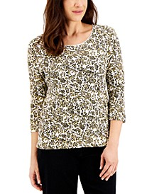 Petite Floral-Print Scoop-Neck Top, Created for Macy's