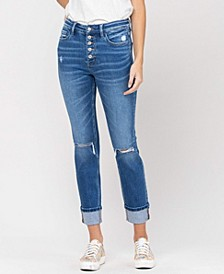 Women's High Rise Distressed Button Up Cuffed Straight Jeans