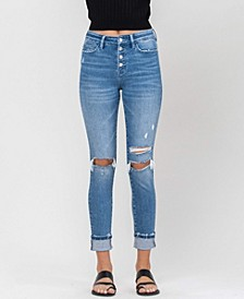 Women's High Rise Distressed Button Up Cuffed Ankle Skinny Jeans