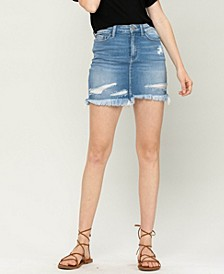 Women's Distressed Raw Hem Mini Denim Skirt
