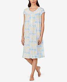Ruffled Floral-Print Waltz Nightgown