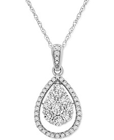 """Diamond Teardrop Cluster 18"""" Pendant Necklace (1/2 ct. t.w.) in 14k Gold or 14k White Gold"""