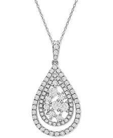 "Diamond Teardrop Cluster 18"" Pendant Necklace (1 ct. t.w.) in 14k Gold or 14k White Gold"