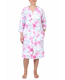 Floral-Print Short Zipper Robe