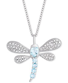 """Aqua Topaz Dragonfly 18"""" Pendant Necklace (7/8 ct. t.w.) in Sterling Silver"""