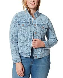 Trendy Plus Size Peony Jean Jacket