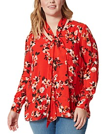 Trendy Plus Size Tie-Neck Printed Blouse