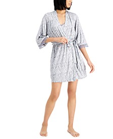 Lace-Trim Knit Wrap Robe, Created for Macy's